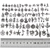 RUBYCA 160Pcs Assorted Mixed Silver Charms Pendants for Bracelets Jewelry Making Crafting Supplies, Tibetan Silver Color Charms, Just Like the Picture (Mix5) (Color: Mix 5, Tamaño: 160 PCS)