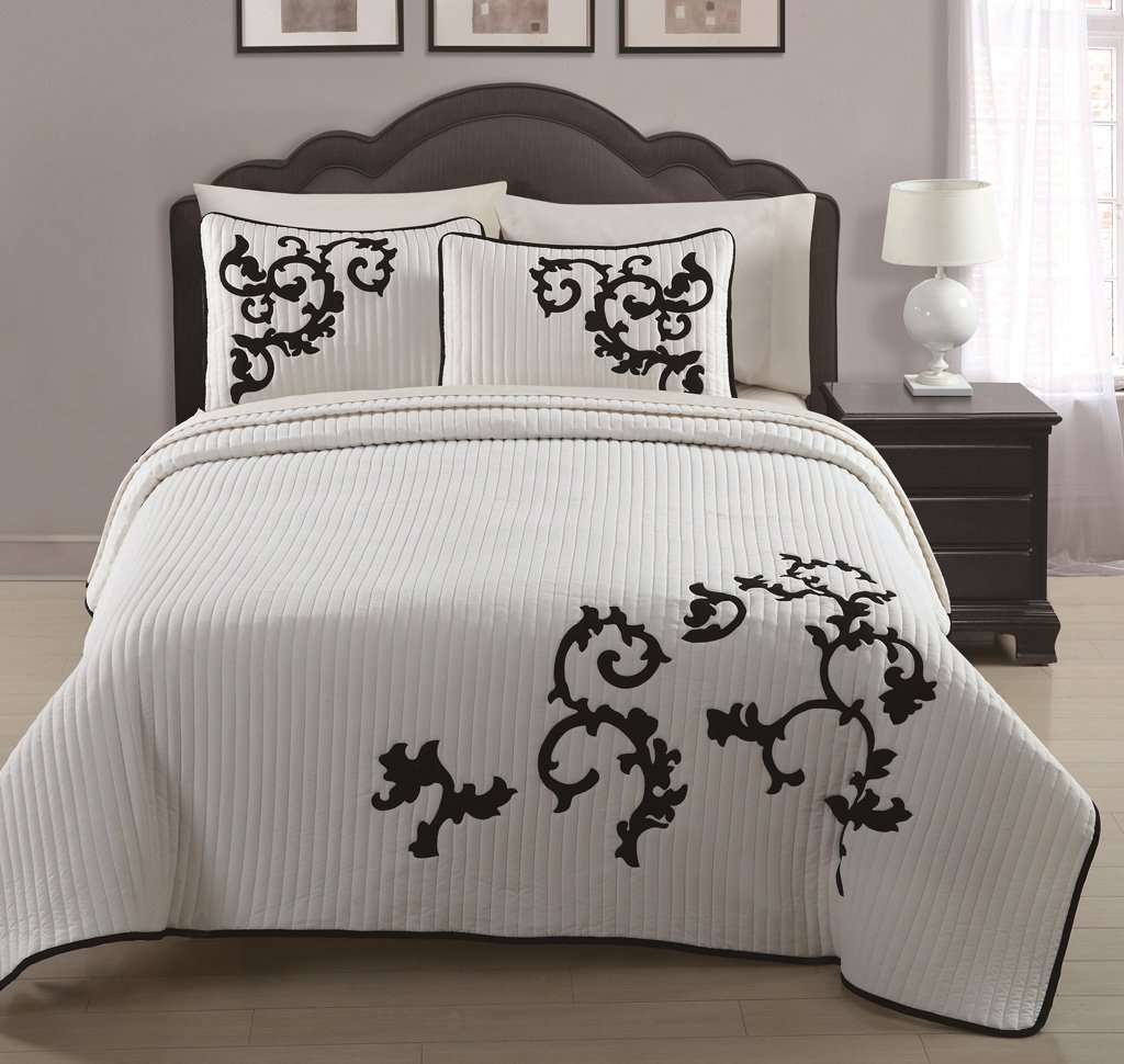 Brazilian embroidery bedspread designs - 3 Piece Ivory Black Embroidered Quilted Coverlet Bedspread Set King Size Amazon In Home Kitchen