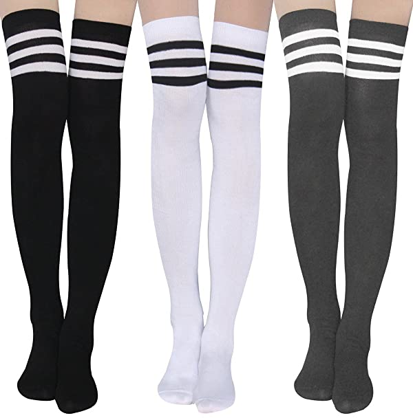 6af0bfd71bd55 Womens Stripe Thigh High Socks - Leg Warmer Dresses Over Knee High Stockings  Cosplay Socks (Color: Stockings ...