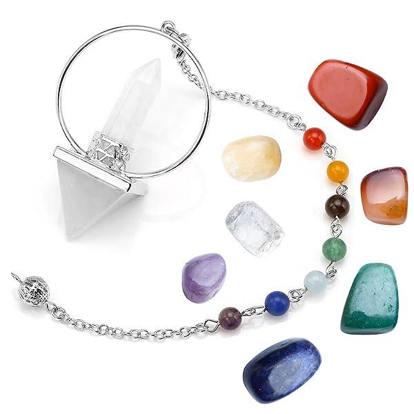7 Quartz Hexagon Pendulum Chakra Healing Gemstone Crystal Pendant For Necklace