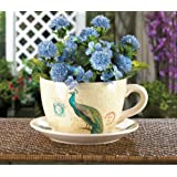 Summerfield Terrace Garden Planters Large, Planter Pots, Personalized Balcony Peacock Teacup Planter (Color: off-white)