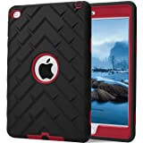 iPad mini 4 Case, iPad A1538/A1550 Case, Hocase Rugged Shockproof Anti-Slip Hybrid Hard Shell+Silicone Rubber Bumper Protective Case for Apple iPad mini 4th Generation 2015 - Black / Red (Color: Black / Red, Tamaño: iPad mini 4th generation)