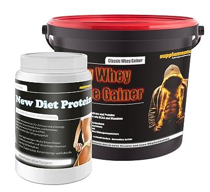 New Diet Protein 400g Banane+New Whey Muscle Gainer 3kg Toffee! Molkenprotein Molkeneiweiß Muskelaufbau Fettabbau Anabol Pulver