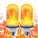 TOLOCO LED Flame Effect Light Bulb E26 Standard Base-1300K 150 Lumens Natural Fire Effect-Simulated Realistic Burning Fire Flame Light Bulb,Antique Lantern Atmosphere for Bar/Party/Home Decor (Color: 2 Pcs Bulbs)