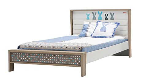 New Joy Blue Bunny Children Small Double Bed, 96 x 131 x 229 cm, White