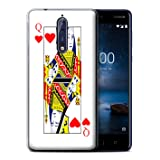 STUFF4 Gel TPU Phone Case/Cover for Nokia 8 / Queen of Hearts Design/Playing Cards Collection (Color: Queen of Hearts)