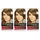 L'Oreal Paris Excellence Creme Hair Color, 6 Light Ash Brown, Pack of 3 (Color: 6 Light Ash Brown, Tamaño: 3 Count)