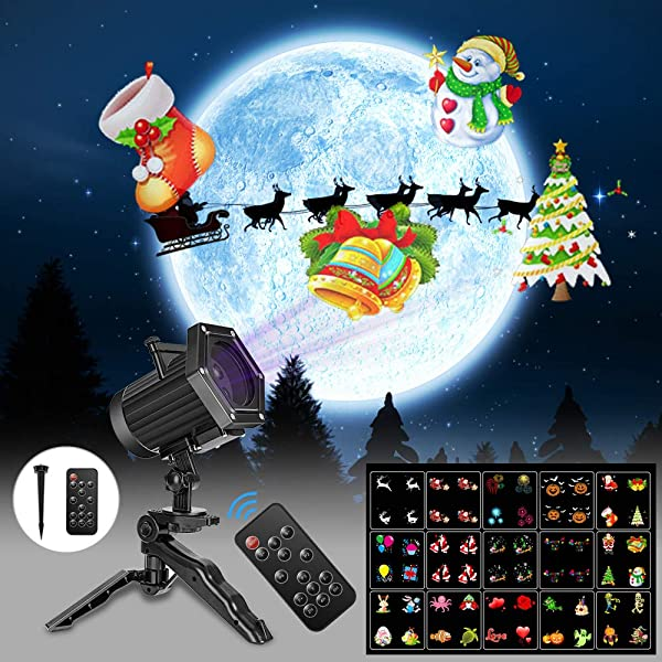 Comkes Christmas Projector Lights, 15 Patterns LED Projector Lights Waterproof Dynamic Outdoor Christmas Lights Spotlights Decoration for Christmas, Halloween,New Year,Outdoor/Indoor Use (Color: Christmas+Haloween+15pcs changeable slides, Tamaño: 15pcs changeable slides projector)