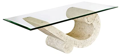 Sea Crest Coffee Table with Fine Mactan Stone Base and Tempered Glass Top