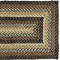 IHF NEW Braided Rectangular Rugs Stallion Design Jute Fabric Black with Mustard and Cream Color