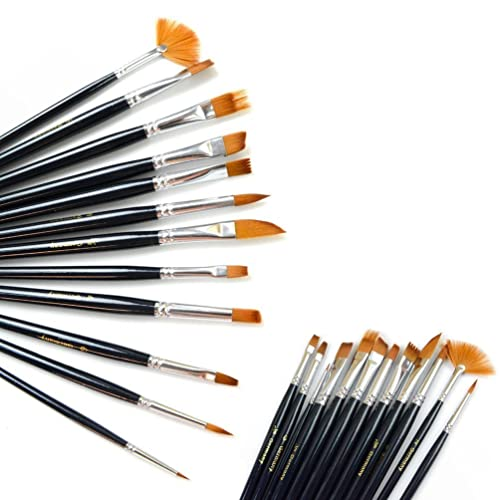 12pcs Nylon Hair Paint Brush Set Artist Watercolor Acrylic Oil Painting Supplies via Amazon