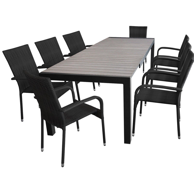 9tlg. Gartengarnitur Ausziehtisch 205/275x100cm + 8x Stapelstuhl mit Polyrattanbespannung Sitzgruppe Sitzgarnitur günstig bestellen