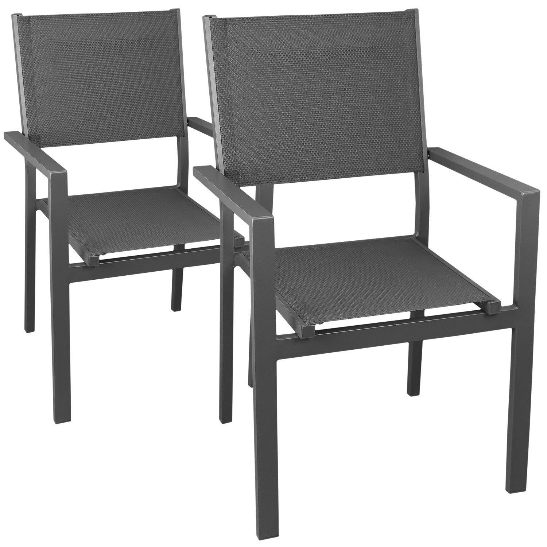 2 Stück Aluminium Stapelstuhl mit hochwertiger 4x4 Textilenbespannung, stapelbar, grau/grau - Gartenstuhl Gartensessel Bistrostuhl Stapelsessel Balkonmöbel Gartenmöbel Terrassenmöbel Sitzmöbel Gartenstühle