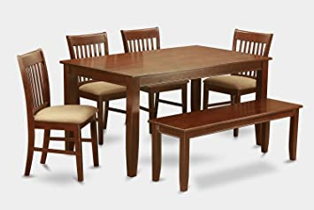 East West Furniture DUNO6D-MAH-C 6-Piece Kitchen Table Set