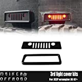 MAIKER Black Third Rear Brake Light Cover With Outer Frame For Jeep Wrangler Unlimited JK Accessories