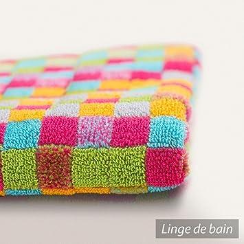 serviette de toilette 50x100 cm cm graphic squares multicolore 550 550 g m2 cuisine. Black Bedroom Furniture Sets. Home Design Ideas