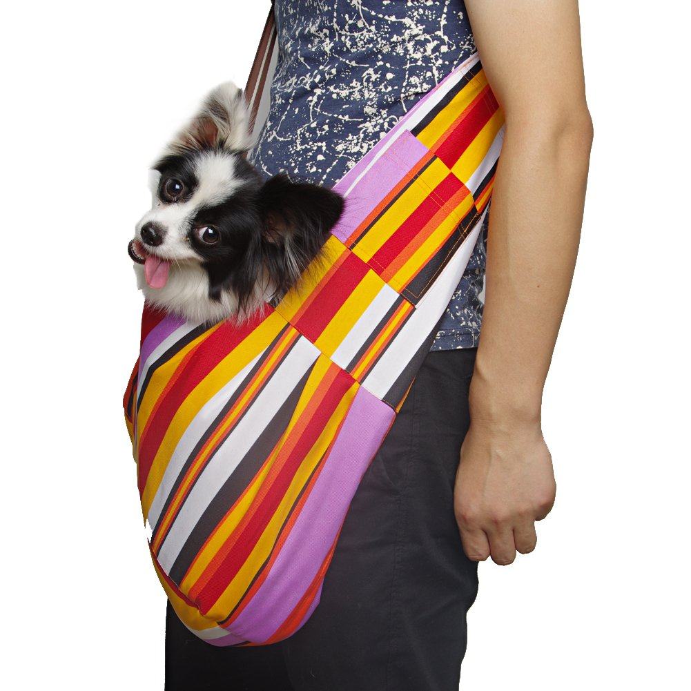 Outward Hound New Pet Sling-style carrier Dog Cat sling Bag -Colorful Strips pet carrier bag for cat dog medium size brown