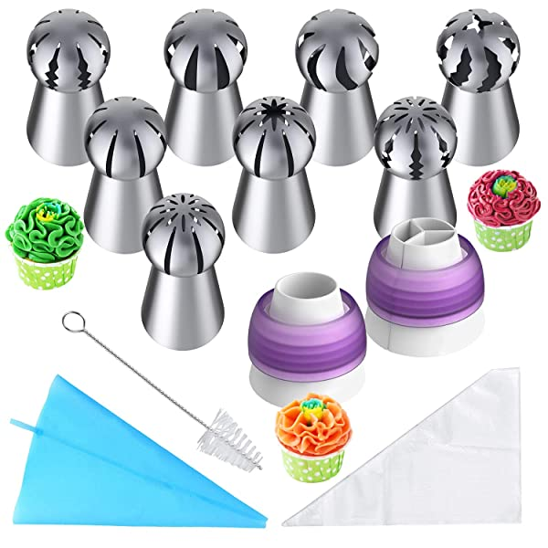 Russian Piping Tips, 32pcs Baking Supplies Set for Cake/Cupcake Decorating, 8 Russian Tips 2 Couplers 1 Reusable Silicone Bag 20 Disposable Pastry Bag