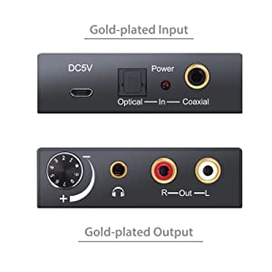 PROZOR Digital to Analog Converter 192kHz DAC Supports Volume control Digital Coaxial SPDIF Toslink to Analog Stereo L/R RCA 3.5mm Jack Audio Adapter