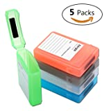 [5-Pack] Hard Drive Disk Protective Box - Eaxer Shockproof Anti-Static Storage Case for 3.5 Inch HDD - Green/ Red/ Gray/ Blue/ White