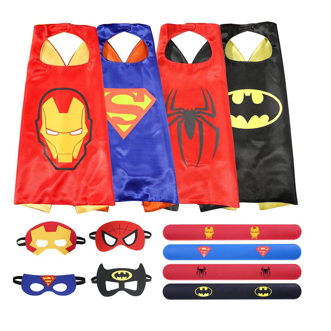 Kids Superhero Cape Mask Costumes Set