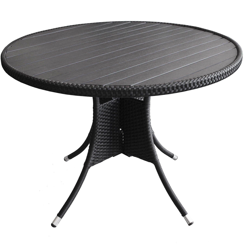Gartentisch rund 105xH76cm Beistelltisch Küchentisch Terrassentisch Aluminium Polywood Polyrattan – Schwarz online kaufen