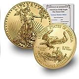 2020 1 oz Gold American Eagle BU In Coin Flip With CoinFolio COA $50 Brilliant Uncirculated