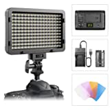 LUZ DE VIDEO LED, LUZ DE PANEL DE CÁMARA REGULABLE ULTRA BRILLANTE LED ESDDI 176 CON BATERÍA Y CABLE USB - para Canon, Nikon, Pentax, Panasonic, Sony, Samsung, Olympus y todas las cámaras DSLR