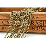 32 Feet Chain for Necklace Extender Bracelet Vintage Antique Bronze Cross jewelry Making Chain (A) (Color: A, Tamaño: 16feet)