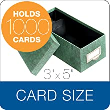 Globe-Weis Index Card Storage Box, 3x5 Inches, Green, (93 GRE)