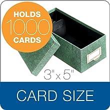 Globe-Weis Fiberboard Index Card Storage Box, 3 x 5 Inches, Green (93 GRE)