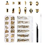 120 Pcs Multi Shapes Glass Crystal AB Rhinestones For Nail Art Craft, Mix 12 Style FlatBack Crystals 3D Decorations Flat Back Stones Gems Set (Gold,120 pcs Crystals+1728 pcs rhinestones) (Color: Gold,120 pcs Crystals+1728 pcs rhinestones, Tamaño: as the picture show)