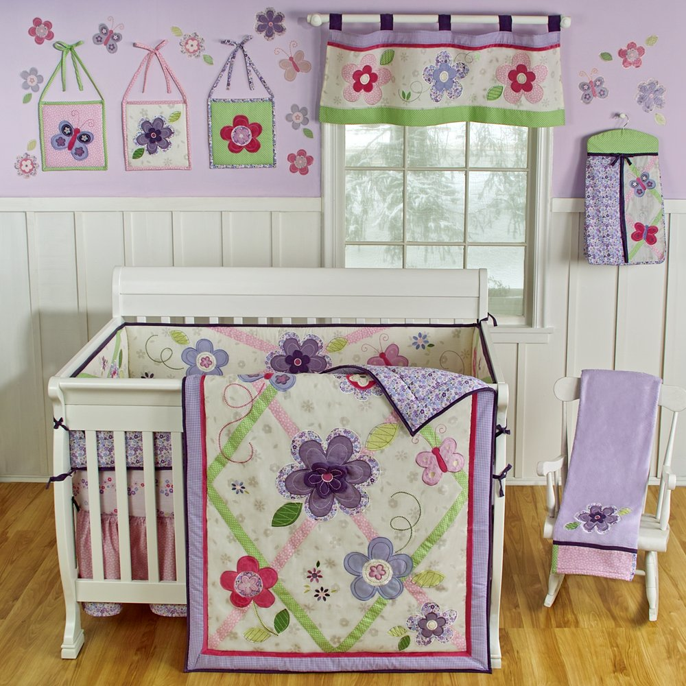 Sumersault Lily Crib Bedding Lavender Baby Bedding And
