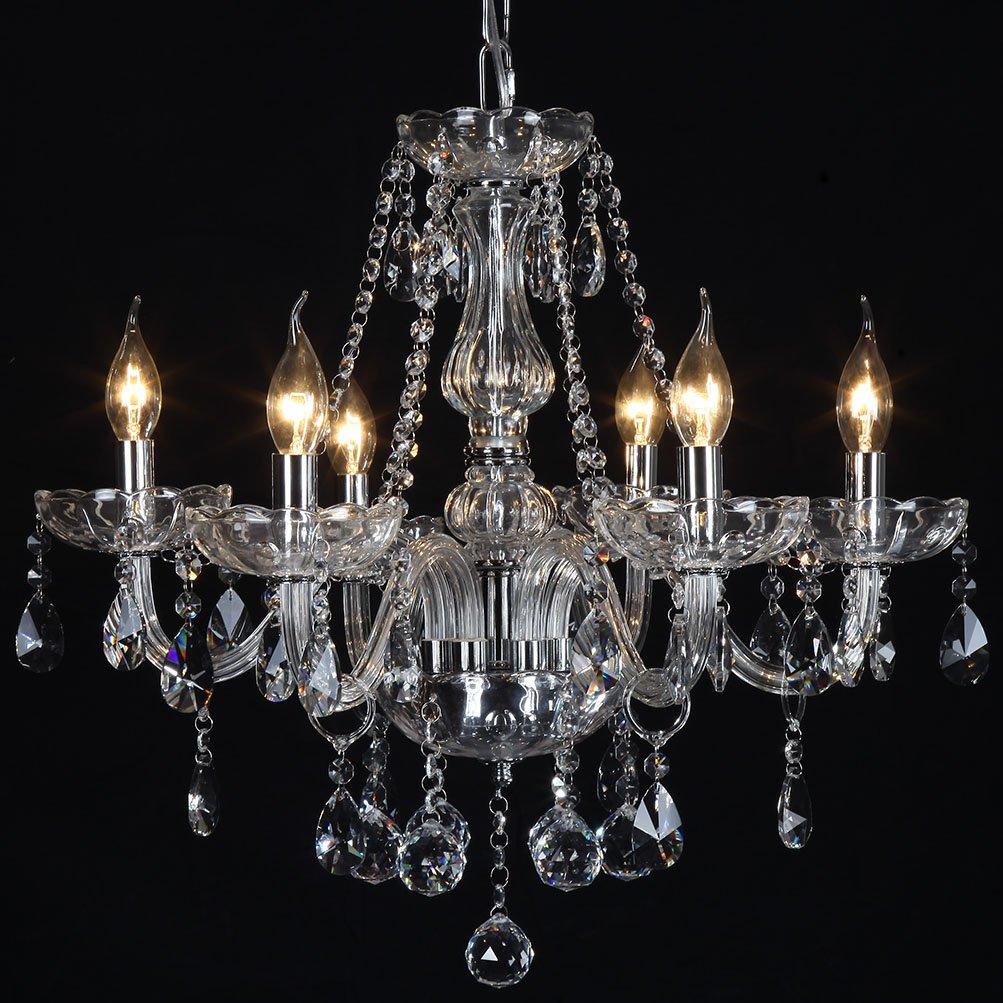 Ella Fashion Classic Vintage Crystal Candle Chandeliers Lighting 6 Lights Pendant Ceiling Fixture Lamp for Elegant Decoration D23.6