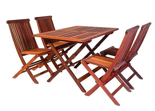 Bistro Gartenmöbel Set (Tisch 120 x 80 cm + 4 Stuhle), aus exklusivem Mahagoni Hartholz, klappbar