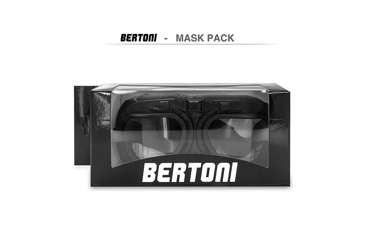 Vintage Motorcycle Goggles with Antifog and Anticrash Squared Lenses - Steel Profile - by Bertoni Italy - AF193A 1