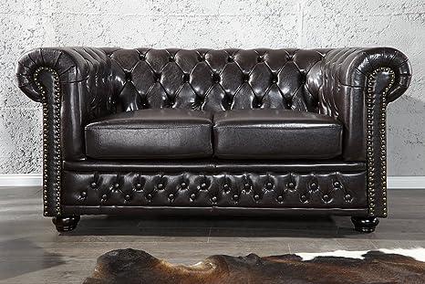 Invicta Interior 9685 Chesterfield Sofa 2-er mit Nietenbesatz, dark coffee