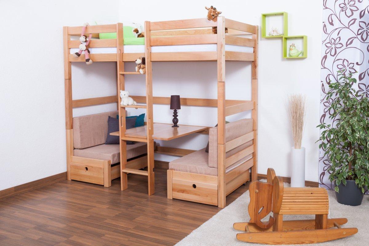 Kinderbett / Etagenbett / Funktionsbett Tim (umbaubar zu einem Tisch mit Bänken oder zu 2 Einzelbetten) Buche massiv natur inkl. Rollrost – 90 x 200 cm jetzt bestellen