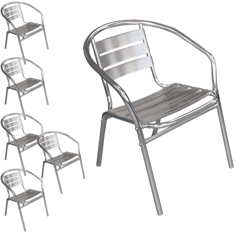 6 Stück Bistrostuhl stapelbar Aluminium Stapelstuhl Campingstuhl Gartenstuhl Küchenstuhl Gartenmöbel Silber online kaufen
