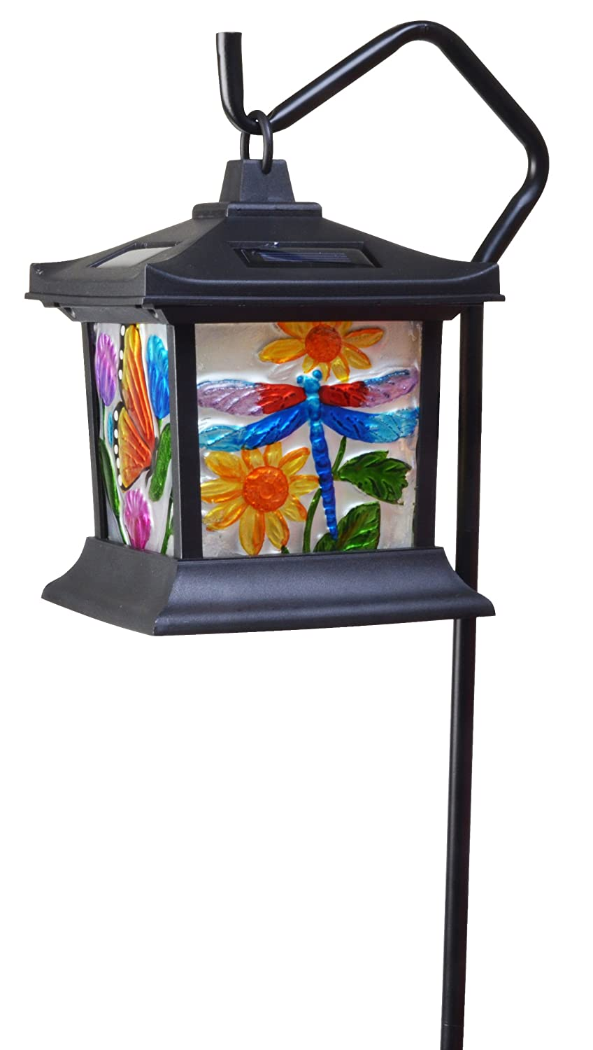 Hanging stained glass lamp led light solar powered outdoor for Solar powered patio lights