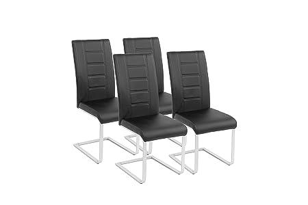Schwingstuhl 4er Set Roberto / Freischwinger ohne Armlehne in modernem Design / Lederimitat / Stuhle schwarz / 60 x 42 x 101 cm (T x B x H)