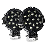 Nilight LED Light Bar 2PCS 7Inch 51w Spot Round Led Off Road Lights Fog Light Driving Lights Roof Bumper Light Bars for Trucks Boat Lights, 2 Years Warranty