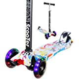 EEDAN Scooter for Kids 3 Wheel T-bar Adjustable Height Handle Kick Scooters with Max Glider Deluxe PU Flashing Wheels Wide Deck for Children from 5 to 14 Year-Old (Grafitti) (Color: Grafitti)