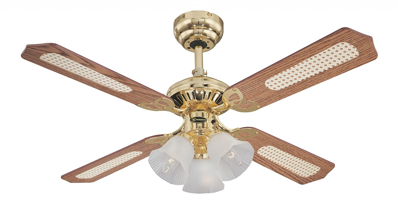 Westinghouse Princess Trio Ceiling Fan - Polished Brass/Oak Cane/Mahogany