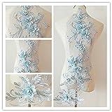 3D beaded flower sequence lace applique motif sewing bridal wedding 3in1 20cmx72cm (Pale Blue) (Color: Pale Blue)