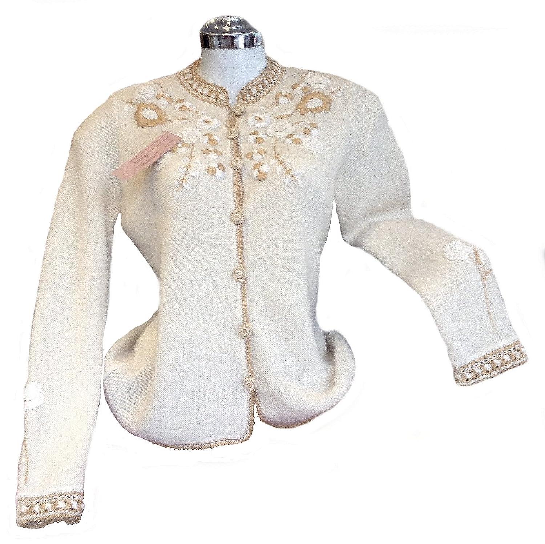 Alpacaandmore Weiße extravagant bestickte Jacke Strickjacke Alpakawolle bestellen