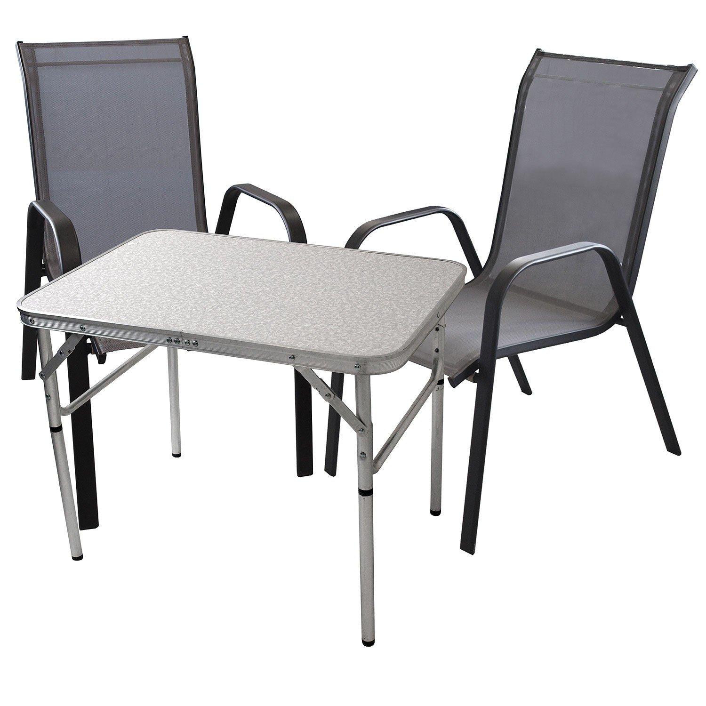 3tlg. Balkonmöbel Gartengarnitur Gartenmöbel Sitzgarnitur Sitzgruppe Campingtisch Klapptisch 75x55cm + stapelbare Gartenstühle Stapelstühle Stahl pulverbeschichtet mit Textilenbespannung günstig kaufen