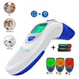 Ear and Forehead Digital Thermometer - Temporal Electronic Infrared, Dual F & C Temperature Mode, Fast 1 Second Read, for Fever, Baby, Children's, Kids & Adults, Ear Termometro (Color: Blue, Tamaño: pillows 190)