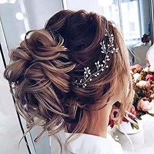 Artio Bride Wedding Hair Vine Accessory Beaded Hair Piece Bridal Headpiece for Bride HV-580 (Color: Gold, Tamaño: Free size)