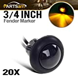 Partsam 20Pack 3/4 Inch Mount SMOKED LENS & Amber LED Clearance Markers, side marker lights, led marker lights, led side marker lights, led trailer marker lights, trailer marker light